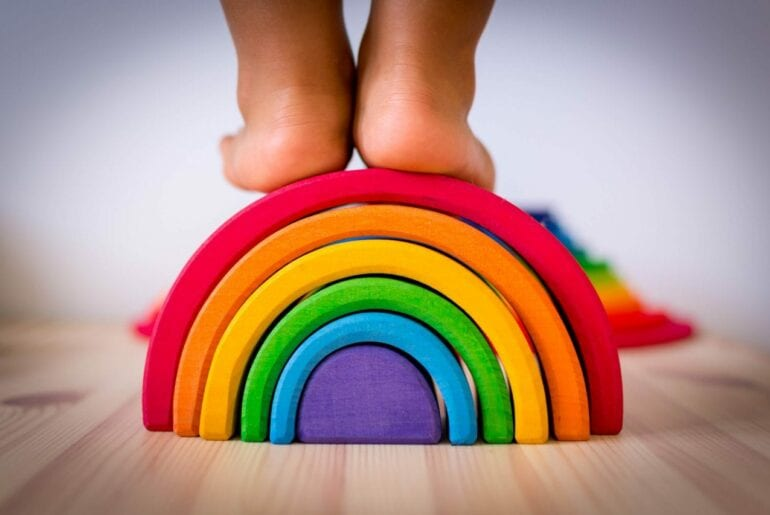 arco iris waldorf brinquedo de madeira