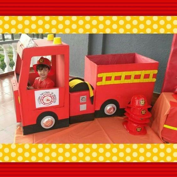 bombeiros caixa de papelao
