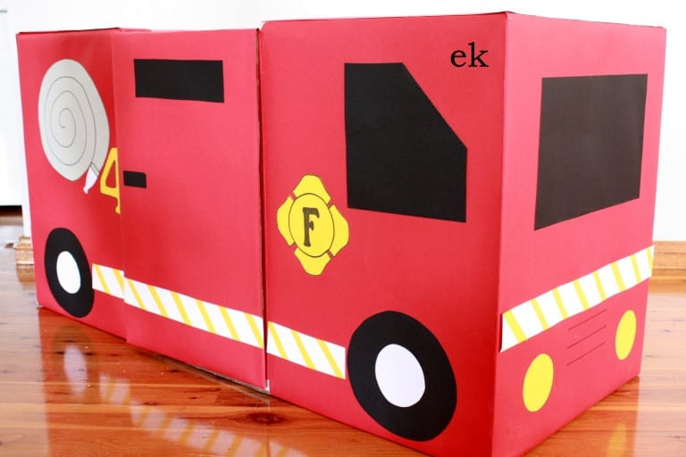 caminhao de bombeiros caixa de papelao