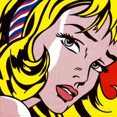 surpresa menina com fita no cabelo roy lichteinstein
