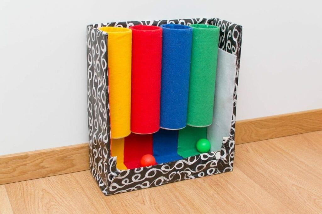 tubo das cores brinquedo montessori