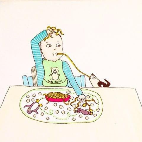 maternidade real - dividindo comida com animal