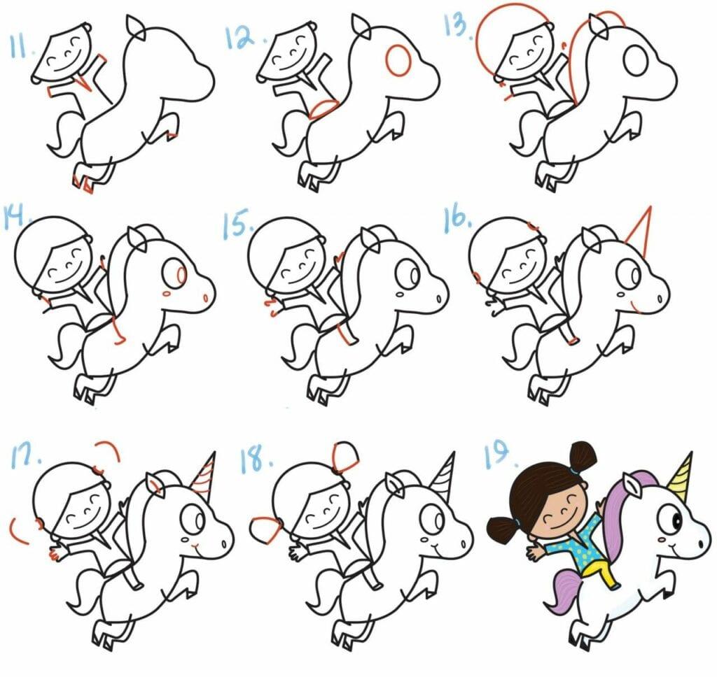 como desenhar um unicornio kawaii 02