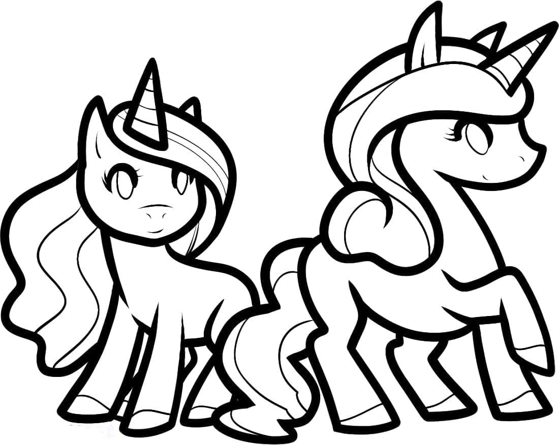 dois unicornios para colorir criando com apego
