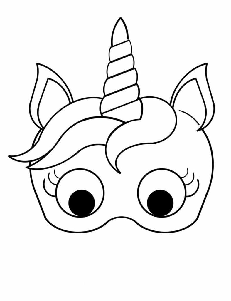 mascara de unicornio para colorir criando com apego