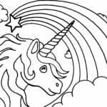 unicornio e arco iris para colorir