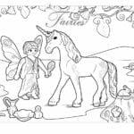 unicornio e fada para colorir