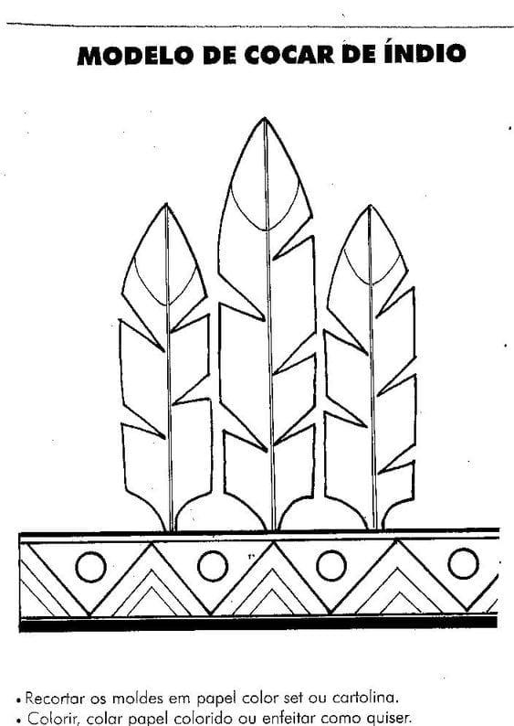 atividades dia do indio molde cocar indigena