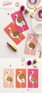 cartao flamingo