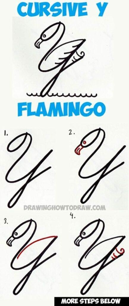 Como fazer um flamingo com letra cursiva