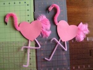 Flamingos e coração