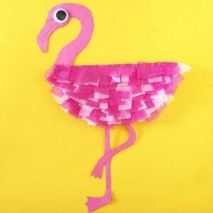 Flamingo feito com papel craft