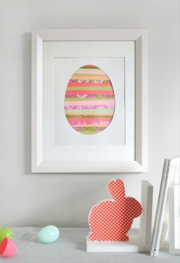 quadro de ovo de pascoa com papeis craft