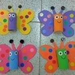 Animais com rolo de papel higiênico - borboleta