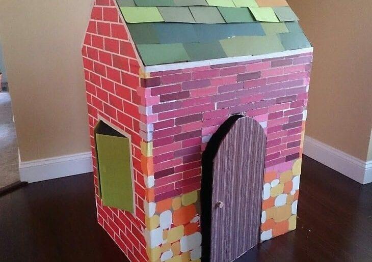 Como fazer uma casinha infantil de papelao 00
