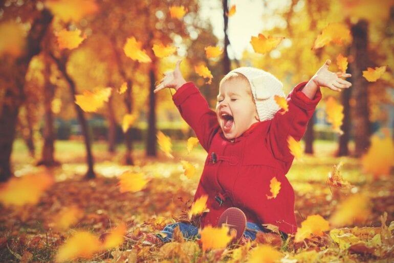 Fotos de bebês em paisagem de outono