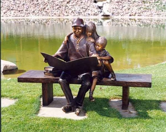 pai lendo aos filhos Nebraska, George W. Lundeen 1948