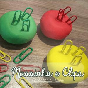 Massinha de cores e clips