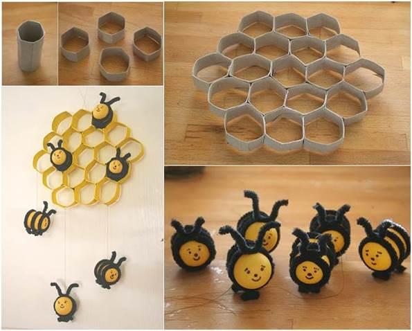 colmeia de abelha feita de papel higienico
