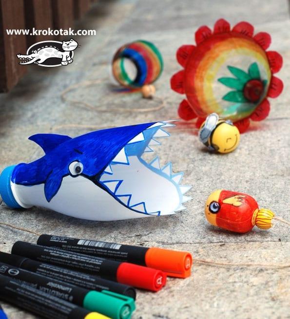 brinquedos reciclados garrafas pet bilboque tubaraobrinquedos reciclados garrafas pet bilboque tubarao