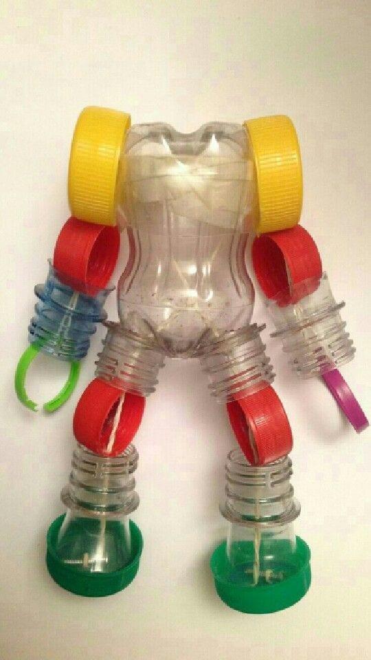 brinquedos reciclados garrafas pet robo