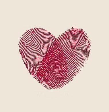 desenhos de amor com digitais dos dedos