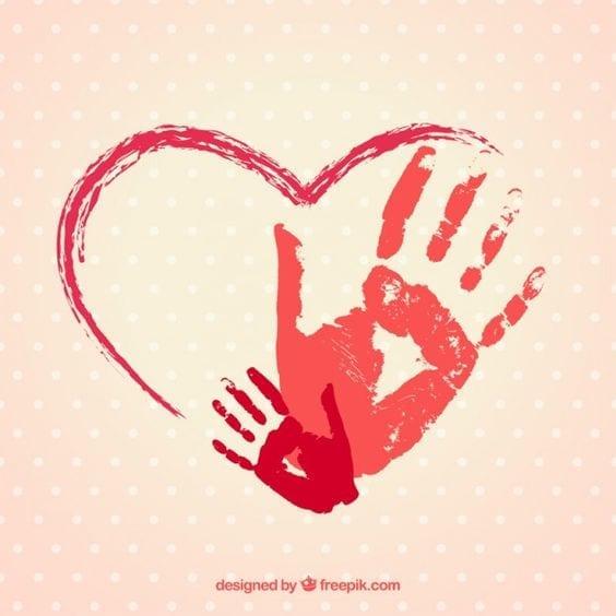 desenhos de amor coracao com maos mae e filha