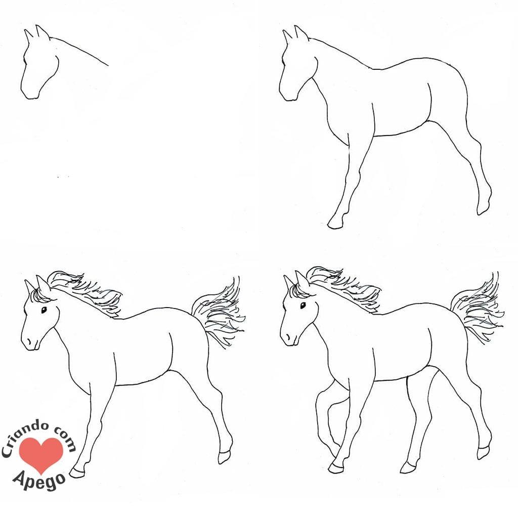 desenhos para desenhar cavalo criando com apego
