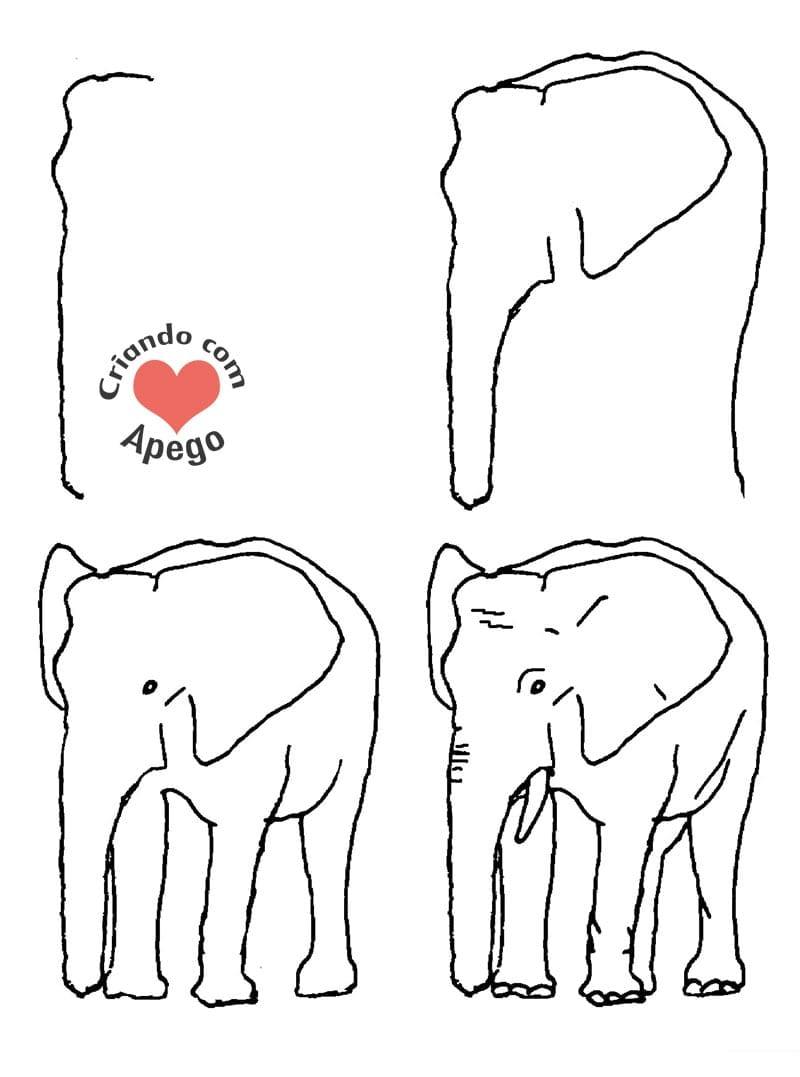 desenhos para desenhar elefante criando com apego