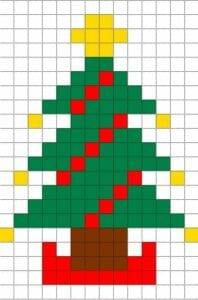 Desenhos quadriculados - árvore de Natal