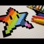 Desenhos quadriculados - estrela arco-íris