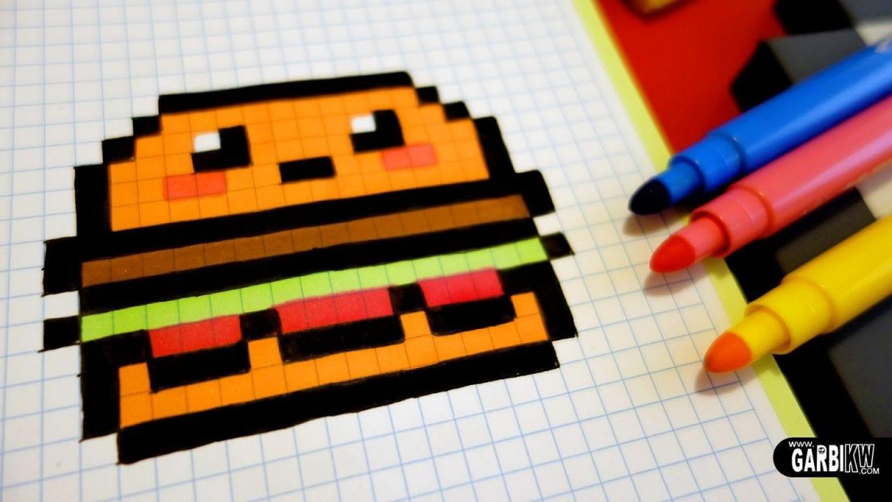 desenhos quadriculados pixel art hamburguer criando com. Black Bedroom Furniture Sets. Home Design Ideas