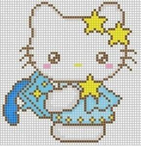 Desenhos quadriculados - Hello Kitty azul