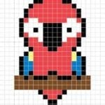 Desenhos quadriculados - papagaio