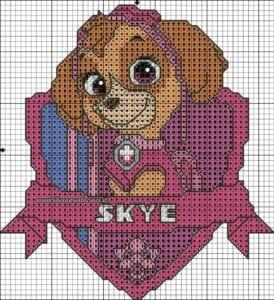 Desenhos quadriculados - Patrulha Canina Skye