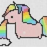 Pixel art - unicórnio cuspindo arco-íris
