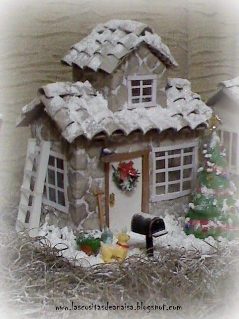 brinquedos reciclados com caixa de leite casa natalina