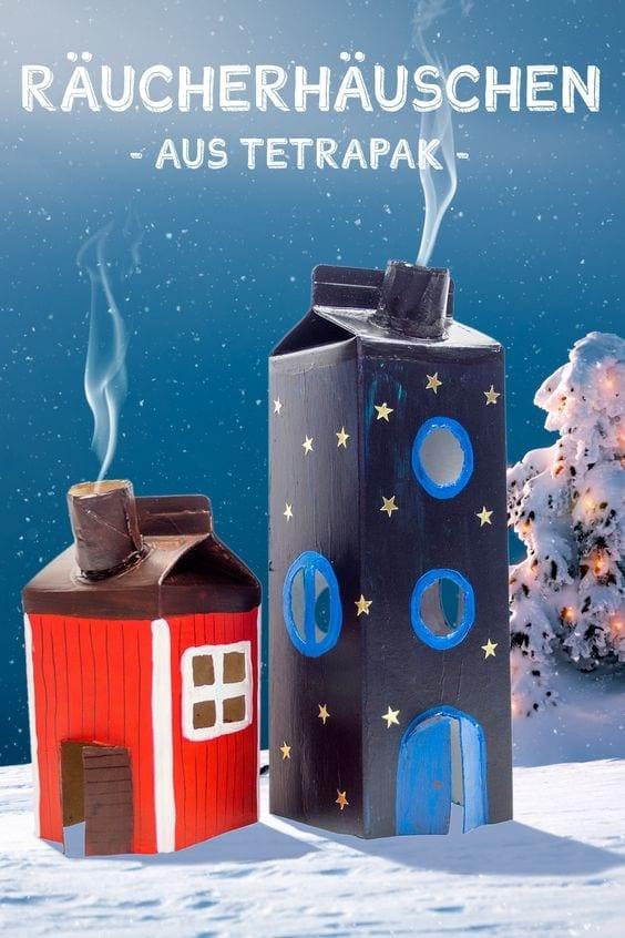 brinquedos reciclados com caixa de leite casas natalinas