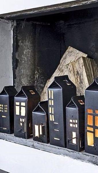 brinquedos reciclados com caixa de leite casas pretas