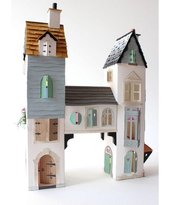 brinquedos reciclados com caixa de leite castelo com duas torres