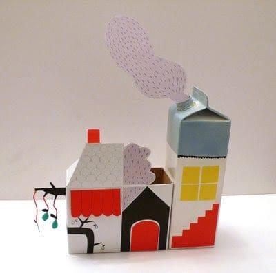 brinquedos reciclados com caixa de leite conjunto de casas