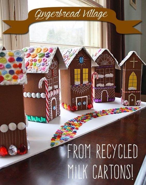brinquedos reciclados com caixa de leite lanterna casa de doces