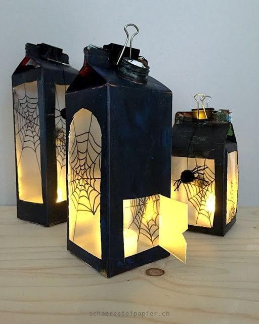 brinquedos reciclados com caixa de leite lanterna de halloween