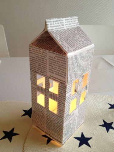 brinquedos reciclados com caixa de leite lanterna