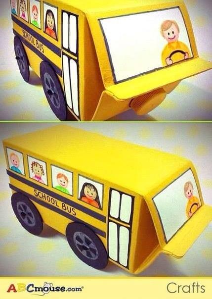 brinquedos reciclados com caixa de leite onibus