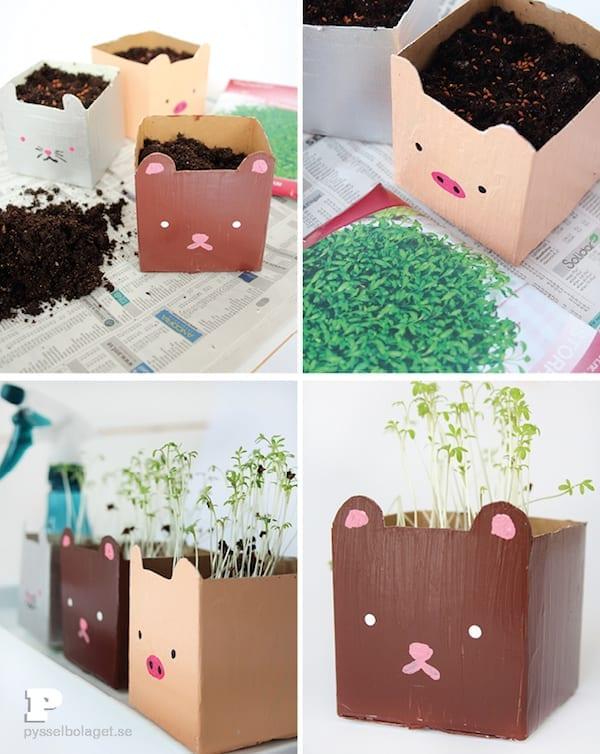 brinquedos reciclados com caixa de leite vasos de planta
