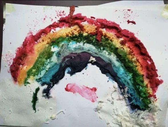 arco iris com espuma de barbear 20