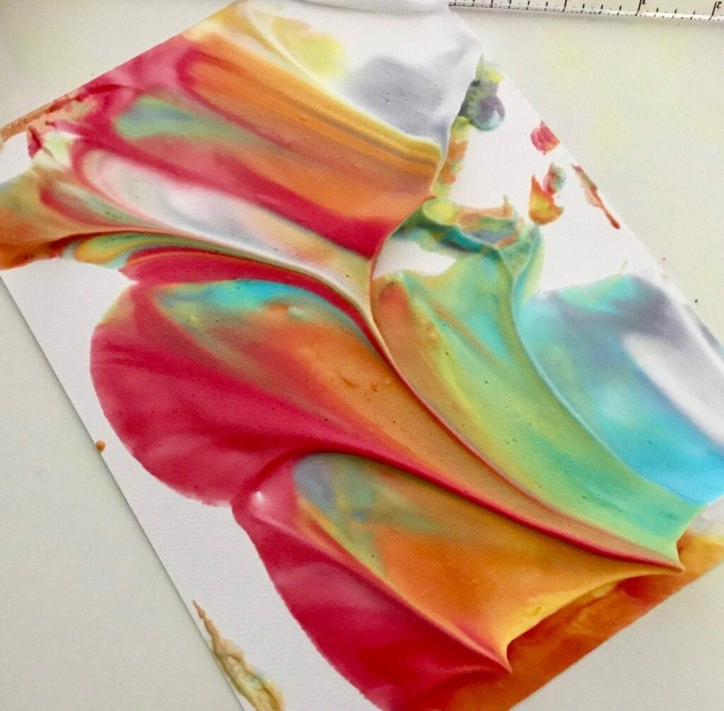 atividade de pintura arco iris com espuma de barbear 13
