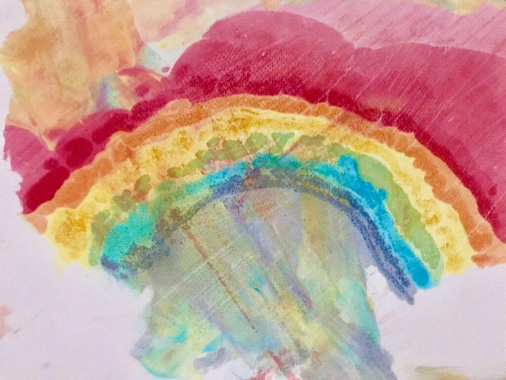 atividade de pintura arco iris com espuma de barbear 16