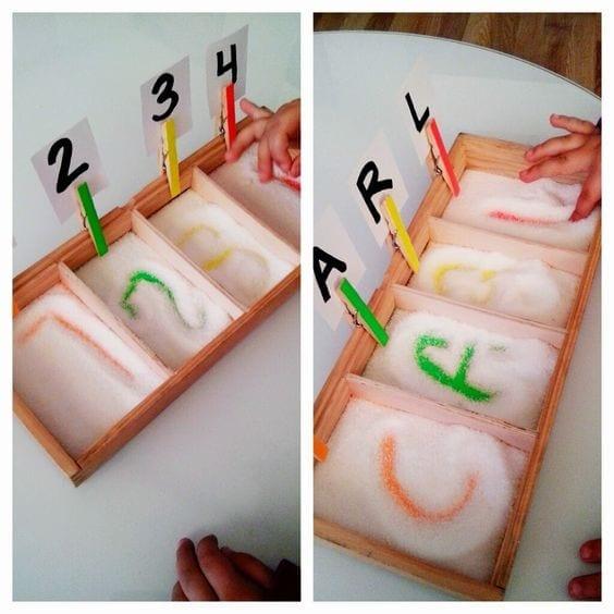 atividades com caixa de areia montessori 14
